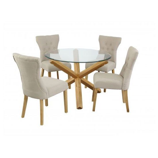 Current Glass Top Oak Dining Tables Within Optro Solid Oak Glass Top Dining Table With 4 Dining Chairs (View 6 of 20)
