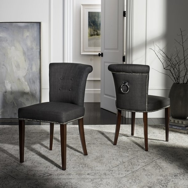Current Grey Dining Chairs Within Shop Safavieh En Vogue Dining Carrie Charcoal Grey Dining Chairs (View 3 of 20)