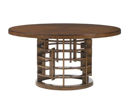 Current Helms Round Dining Tables Inside Tommy Bahama Island Fusion 60'' Round Meridien Sebana Wood Top (View 19 of 20)