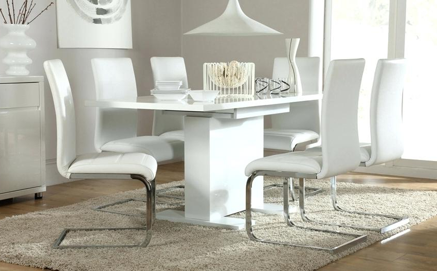 Current High Gloss Dining Table Sets White High Gloss Extending Dining Table Inside Extending Dining Tables With 6 Chairs (View 19 of 20)