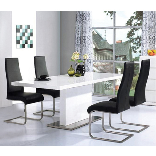 Current High Gloss Dining Tables Sets Pertaining To Chaffee High Gloss Dining Table Set 14951 Furniture In (View 4 of 20)
