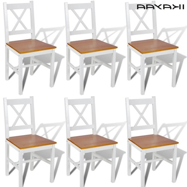 Current Ikayaa 6 Pcs Dining Chairs Comedo White Pine Wood And Natural Wood With Regard To Pine Wood White Dining Chairs (View 6 of 20)