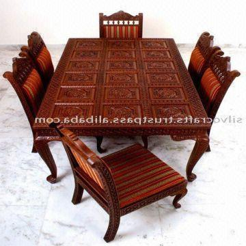 Current Indian Dining Room Furniture In Indian Teak Wood Hand Carved Dining Room Set & Restaurant Furniture (View 14 of 20)