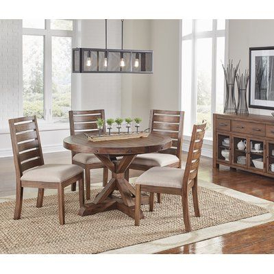 Current Jaxon 5 Piece Extension Counter Sets With Fabric Stools Intended For Loon Peak Johnston 5 Piece Dining Set (View 2 of 20)