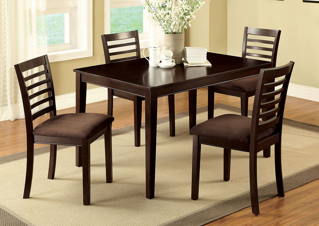Current Jaxon 5 Piece Extension Round Dining Sets With Wood Chairs Pertaining To Price's Home Furnishings Eaton I Espresso 5 Pc Dining Table Set (View 2 of 20)