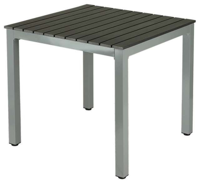 Current Jaxon Aluminum Outdoor Table, Poly Wood, Silver/slate Gray – Modern Intended For Jaxon Grey Round Extension Dining Tables (View 7 of 20)