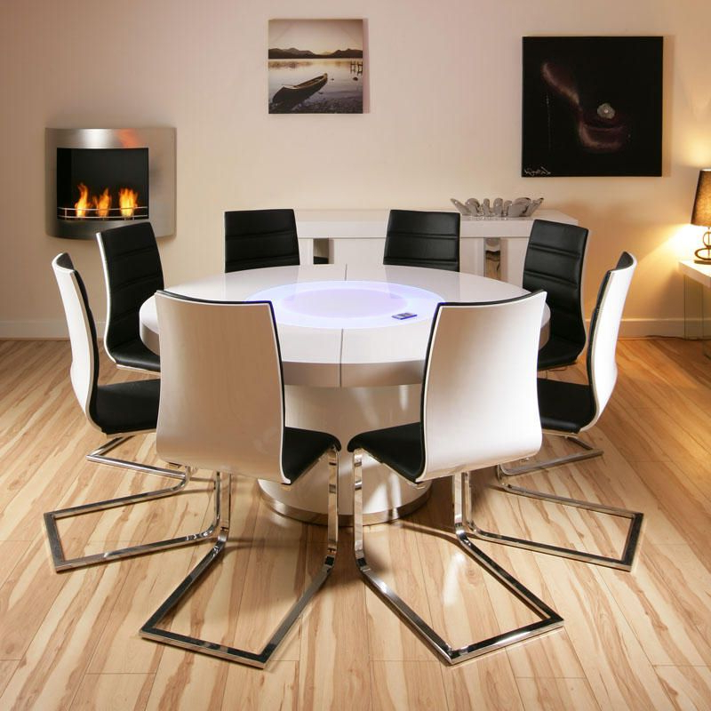Current Large White Round Dining Tables In Large Round White Gloss Dining Table Glass Lazy Susan Led Lighting (View 17 of 20)