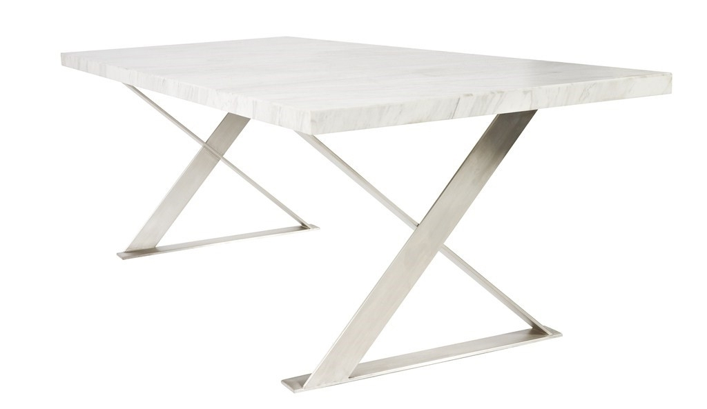 Current Lyn Marble Dining Table – Moss Furniture : Moss Furniture Within Brushed Steel Dining Tables (View 8 of 20)