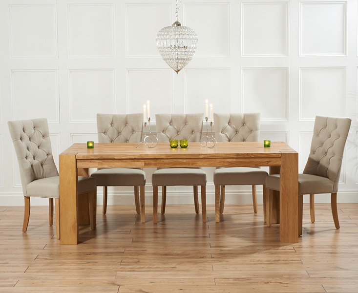 Current Madrid 240cm Solid Oak Dining Table With Anais Fabric Chairs With Dining Tables And Fabric Chairs (View 2 of 20)