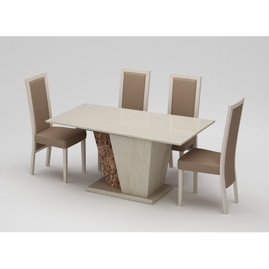 Current Marble Effect Dining Tables And Chairs Throughout Kati Marble Effect Cream Dining Table With 4 Kati Dining (View 1 of 20)