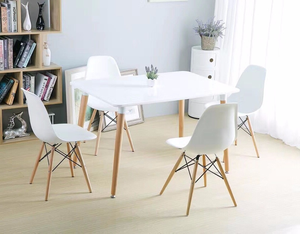 Current Minimalist Modern Design Dining Furniture Set 1 Table 4 Chairs In Patterson 6 Piece Dining Sets (View 1 of 20)