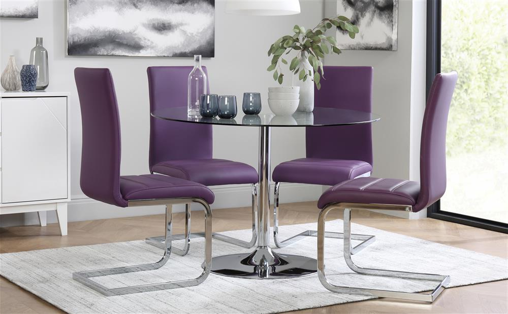 Current Orbit Round Glass & Chrome Dining Table With 4 Perth Purple Chairs In Dining Tables And Purple Chairs (View 12 of 20)