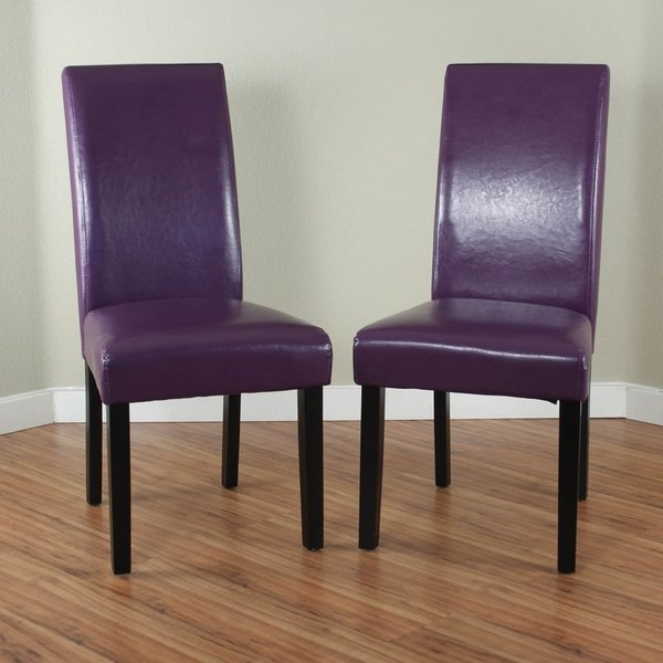 Current Purple Faux Leather Dining Chairs Intended For Shop Villa Faux Leather Boysenberry Dining Chairs (set Of 2) – Free (View 10 of 20)