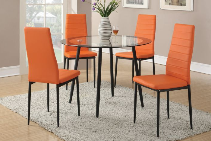 Current Retro Glass Dining Tables And Chairs With Retro Style 5Pcs (View 3 of 20)