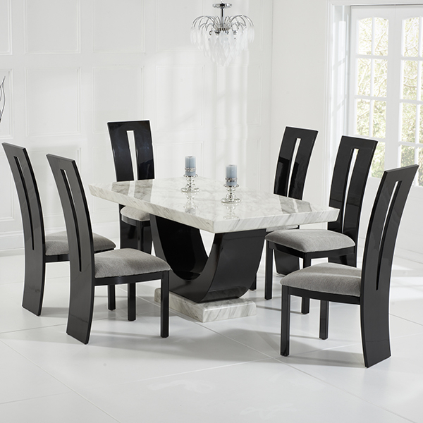 Current Riviera Cream And Black Marble Dining Table With 6 Chairs – Robson In Wood Dining Tables And 6 Chairs (View 7 of 20)