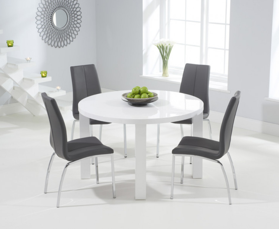 Current Round White Dining Tables Regarding Atlanta 120cm Round White High Gloss Dining Table With Cavello (View 6 of 20)