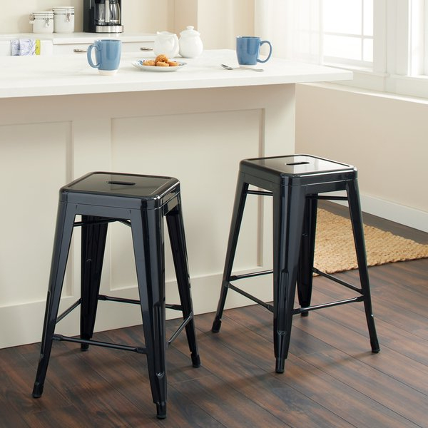Current Shop Tabouret 24 Inch Black Metal Counter Stools (Set Of 2) – Free With Regard To Valencia 5 Piece Counter Sets With Counterstool (View 6 of 20)