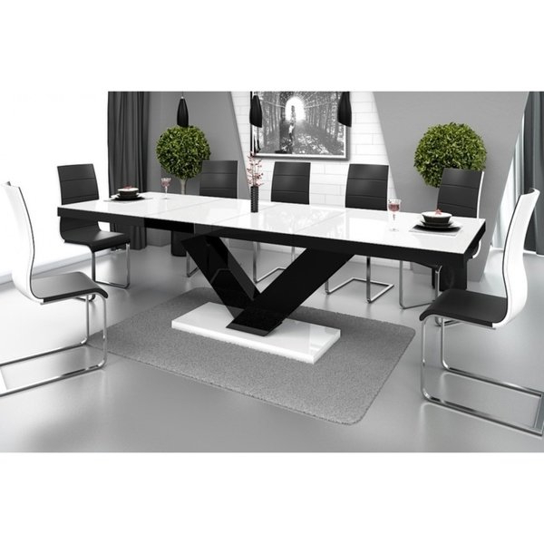 Current Shop Victoria Dining Table With Extension – White/black – Free Throughout Jefferson Extension Round Dining Tables (Gallery 10 of 20)