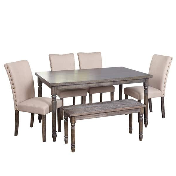 Current Simple Living Burntwood Parson Weathered Grey 6 Piece Dining Set Inside Jaxon Grey 5 Piece Extension Counter Sets With Fabric Stools (View 7 of 20)