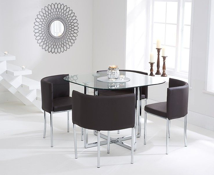 Current Stowaway Dining Tables And Chairs For Algarve Glass Stowaway Dining Table With Brown High Back Stools (Gallery 1 of 20)
