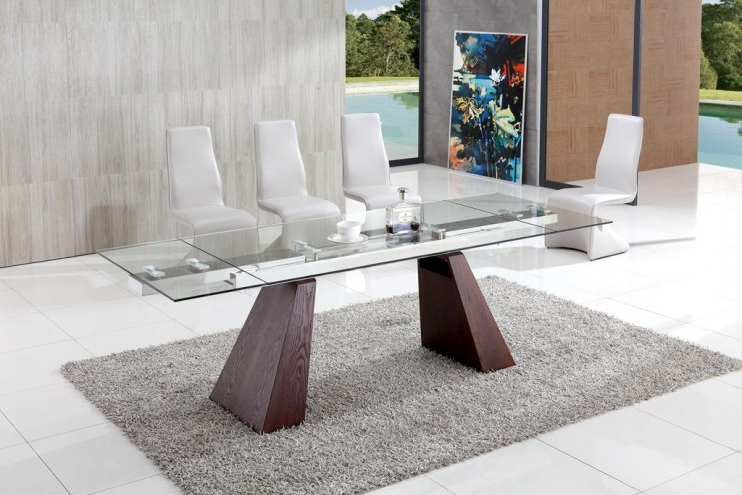 Current Walden Extension Dining Tables In Eliot Contemporary Extending Dining Table With Angel Dining Chairs (View 7 of 20)