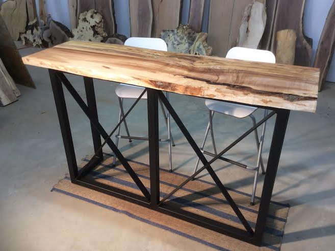 Current Washed Old Oak & Waxed Black Legs Bar Tables Pertaining To Wooden Bar Table With Metal Legs – Photos Table And Pillow (View 6 of 20)