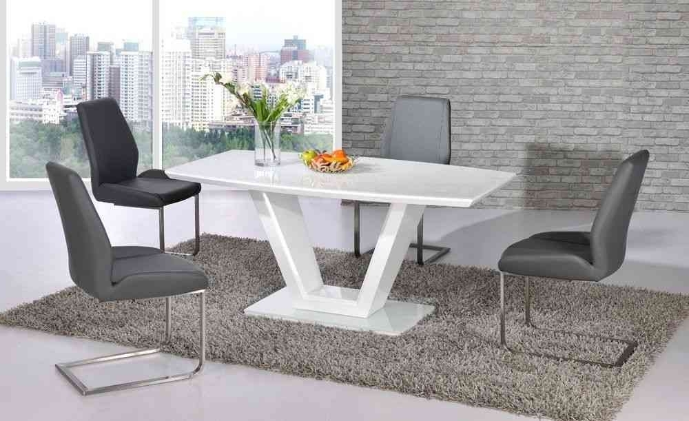 Current White High Gloss Dining Table And 4 Grey Chairs – Homegenies Regarding Cheap White High Gloss Dining Tables (View 8 of 20)