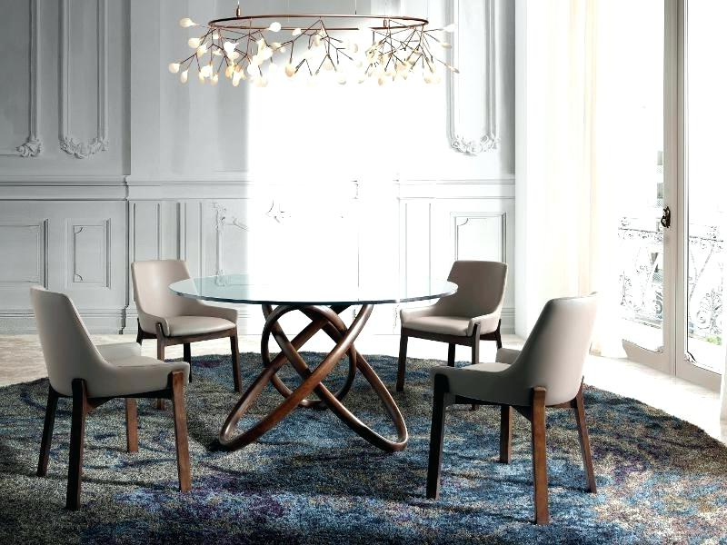 Curved Glass Dining Tables In Favorite Decoration: Modern Round Glass Dining Table With Curved Walnut Base (View 4 of 20)