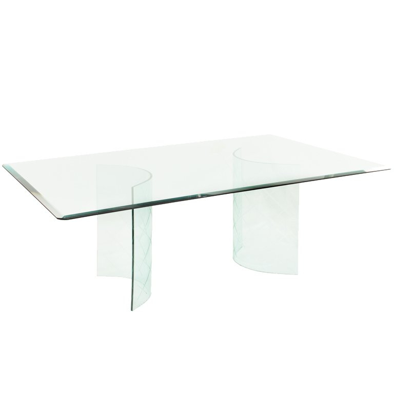 Curved Glass Dining Tables Pertaining To Preferred Dining Table With Etched Curved Glass Bases For Sale At 1Stdibs (View 6 of 20)
