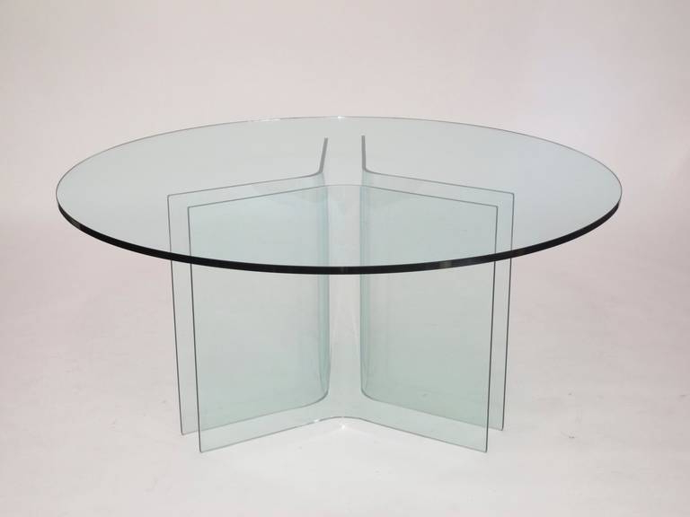 Curved Glass Dining Tables With Regard To Recent Italian Round Glass Dining Table At 1Stdibs (View 8 of 20)