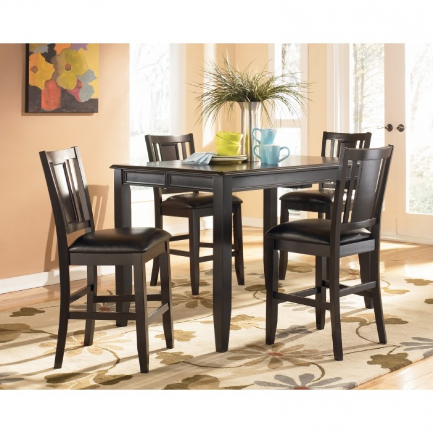 D371d5 Ashley Tack Carlyle 5 Piece Dining Set Pub Style Table 4 With Newest Candice Ii 7 Piece Extension Rectangular Dining Sets With Uph Side Chairs (View 10 of 20)