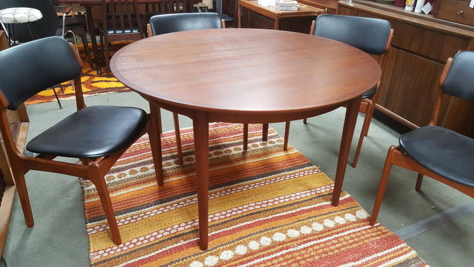 Danish Modern Round Teak Dining Table With 2 Large Extensions Pertaining To Most Recently Released Round Teak Dining Tables (View 7 of 20)