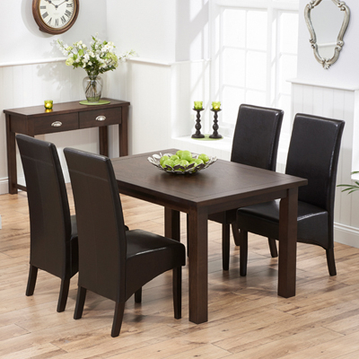 Dark Dining Tables Regarding Recent Sandiego Dark Oak 130Cm Dining Table With 4 Wayne Brown Chairs (View 6 of 20)