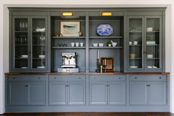 Dark Gray Dining Room Cabinets And Shelves – Transitional – Dining Room With Regard To Popular Dining Room Cabinets (View 6 of 20)