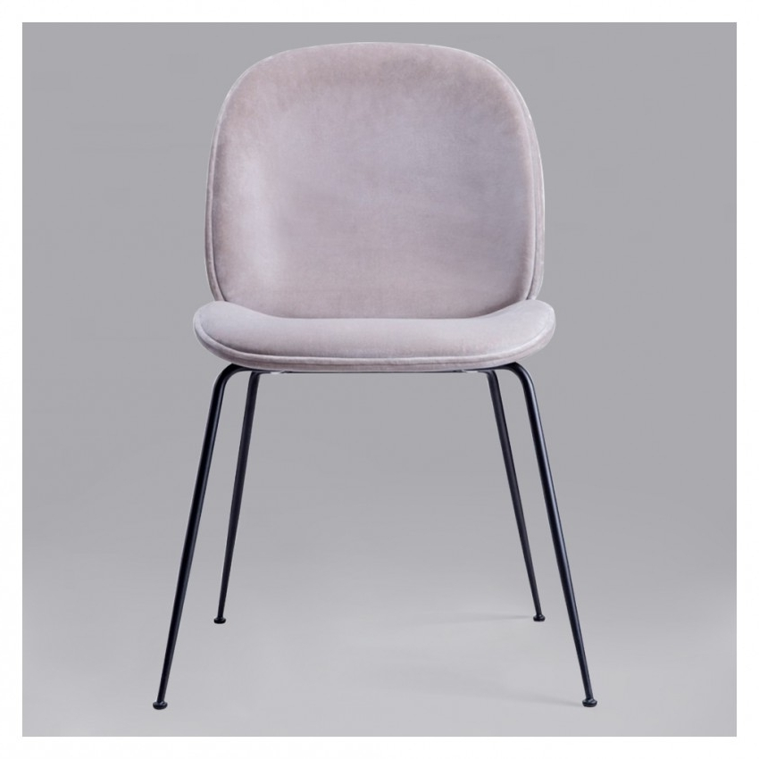 Dark Olive Velvet Iron Dining Chairs For 2017 Beetle Chair Light Grey Velvet With Black Legs – The Conran Shop (View 4 of 20)
