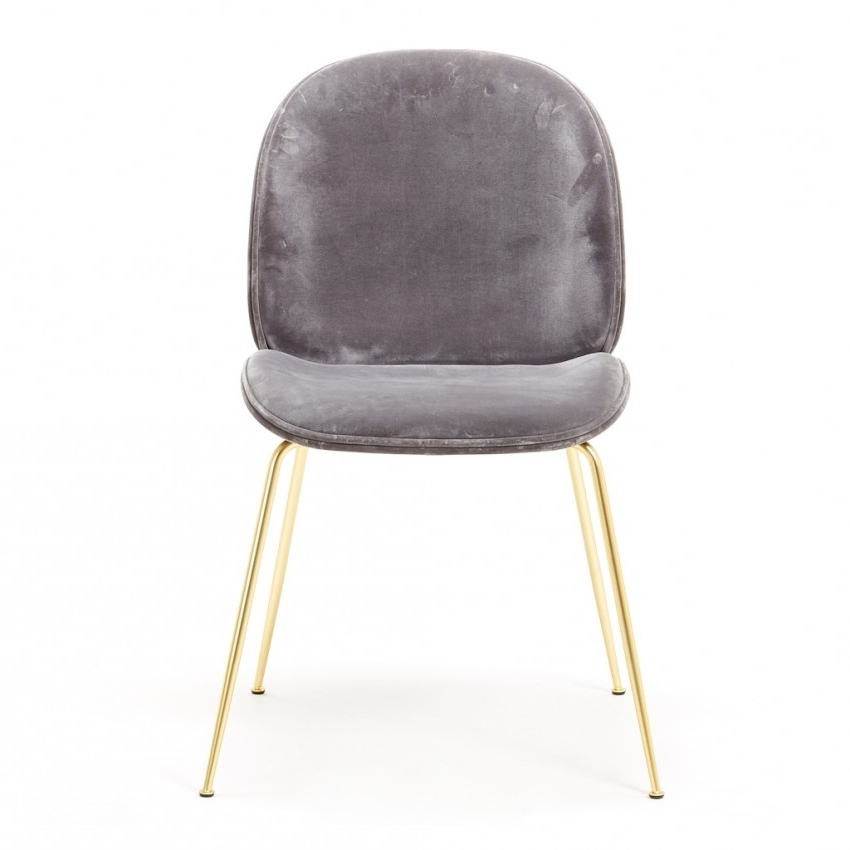 Dark Olive Velvet Iron Dining Chairs Within 2018 Beetle Dining Chair Grey Velvet With Brass Legs Ex Display – The (View 10 of 20)