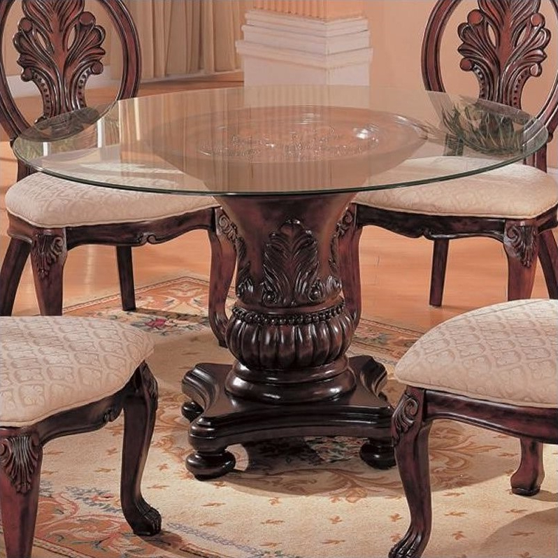 Dark Round Dining Tables For Famous Coaster Tabitha Traditional Round Dining Table With Glass Top In (View 4 of 20)