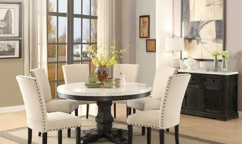 Dark Round Dining Tables Regarding Popular Acme 72845 Nolan Classic White Marble Top Black Round Dining Table (View 6 of 20)