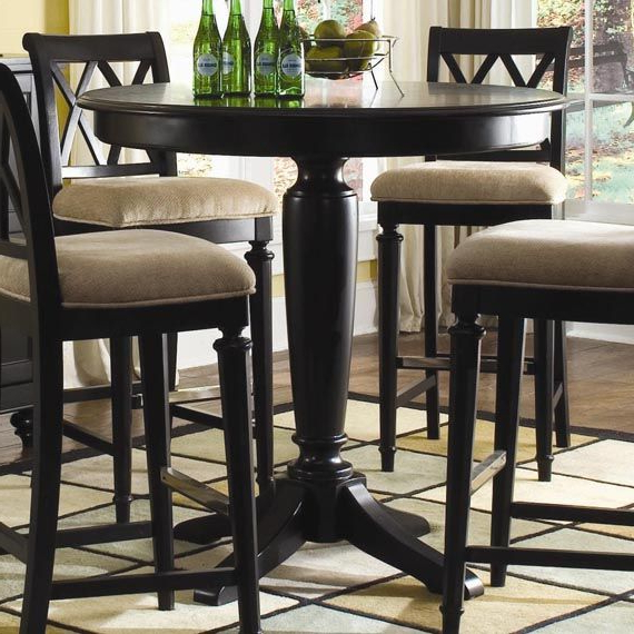 Dark Wood Counter Height Bar Table Design Throughout Jaxon 5 Piece Extension Counter Sets With Wood Stools (View 4 of 20)