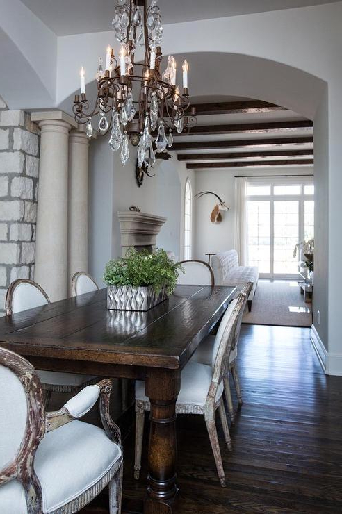 Dark Wood Dining Table With Gray French Dining Chairs – French Intended For Trendy Dark Wood Dining Tables (View 3 of 20)