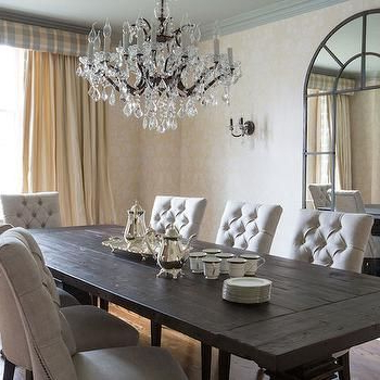 Dark Wood Dining Table With Gray French Dining Chairs – French With Fashionable Dark Wood Dining Tables (View 3 of 20)