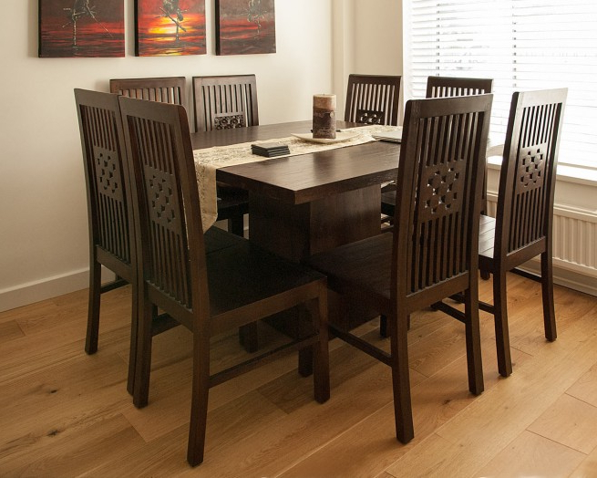 Dark Wood Square Dining Tables Intended For Famous Dark Wood Square Table – Contemporary Teak Dining Tables (View 9 of 20)