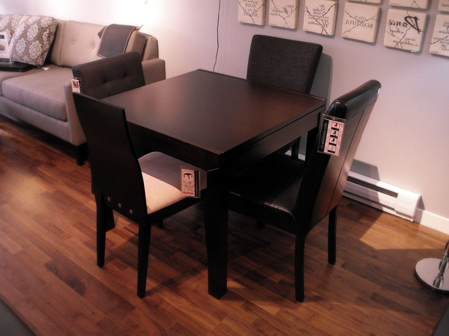Dark Wood Square Dining Tables Pertaining To Favorite Compact Small Square Dining Table With Colorful Decoration: Classic (View 5 of 20)