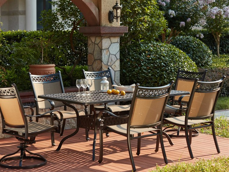 Darlee Outdoor Living Standard Mountain View Cast Aluminum 7  Piece With Regard To Popular Valencia 72 Inch 7 Piece Dining Sets (View 1 of 20)