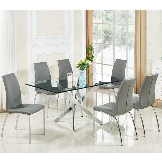 Daytona Glass Dining Table In Clear With 6 Opal Grey Chairs (View 2 of 20)