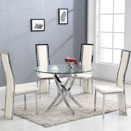 Daytona Round Glass Dining Table With 4 Collete Cream With Most Current Glasses Dining Tables (View 3 of 20)