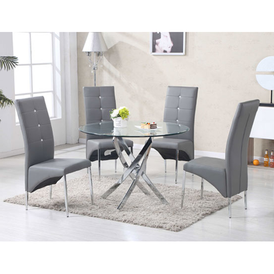Daytona Round Glass Dining Table With 4 Vesta Grey Chairs With Famous Grey Glass Dining Tables (View 3 of 20)
