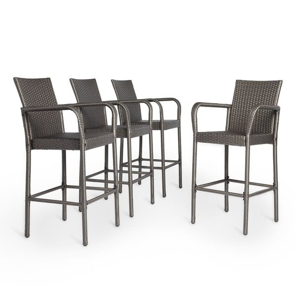 Delfina Side Chairs With Widely Used Delfina Outdoor Wicker Barstool (Set Of 4)Christopher Knight (View 6 of 20)