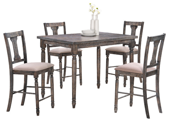 Demi Smoked Gray Counter Height 5 Piece Set – Rustic – Dining Sets For Fashionable Jaxon 5 Piece Extension Counter Sets With Fabric Stools (Gallery 14 of 20)