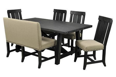 Featured Photo of Jaxon 6 Piece Rectangle Dining Sets With Bench & Uph Chairs